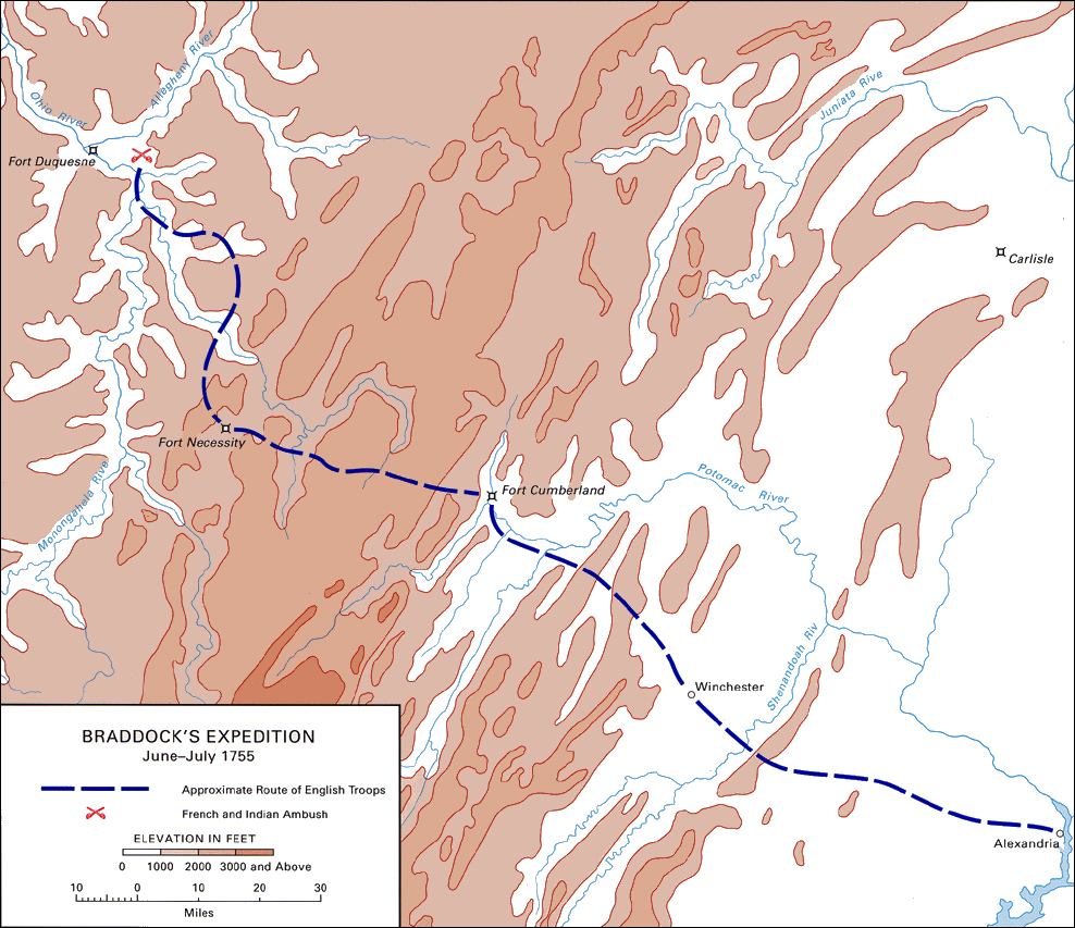 Braddock S Expedition June July 1755 Map 2
