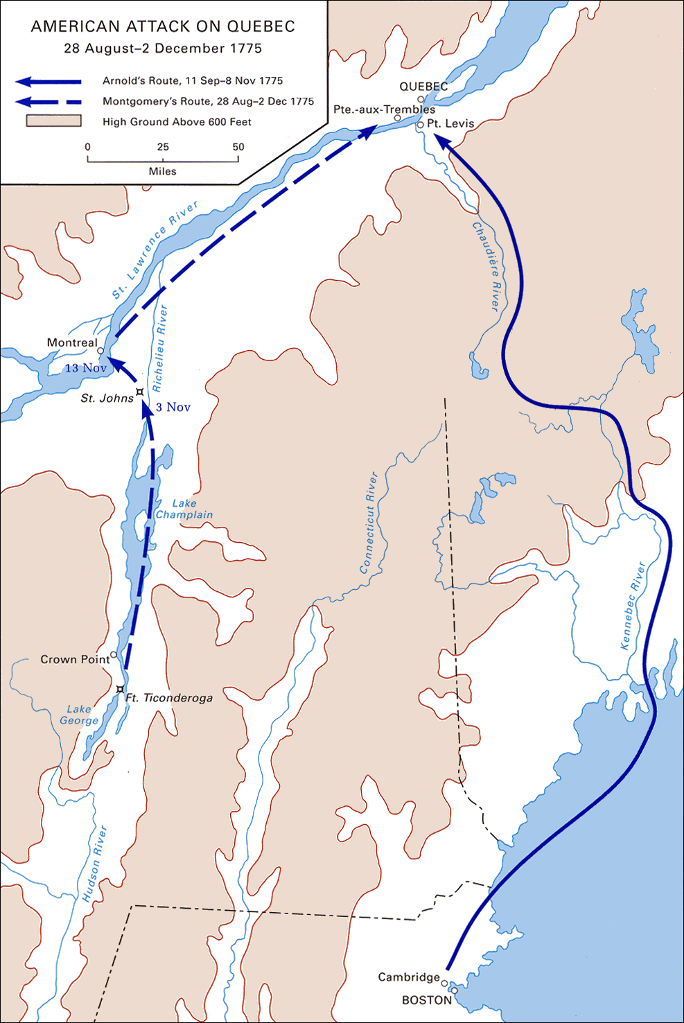 American Attack On Quebec 28 August 2 December 1775 Map 4