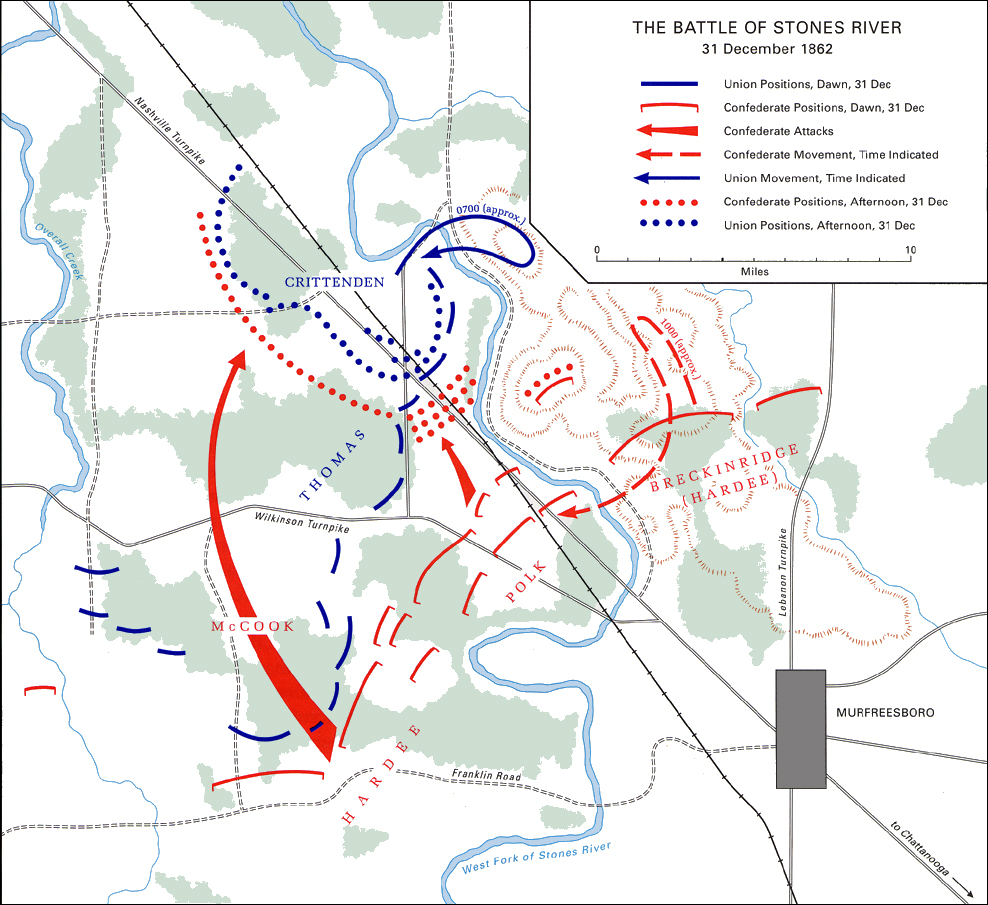 The Battle Of Stones River 31 December 1862 Map 27