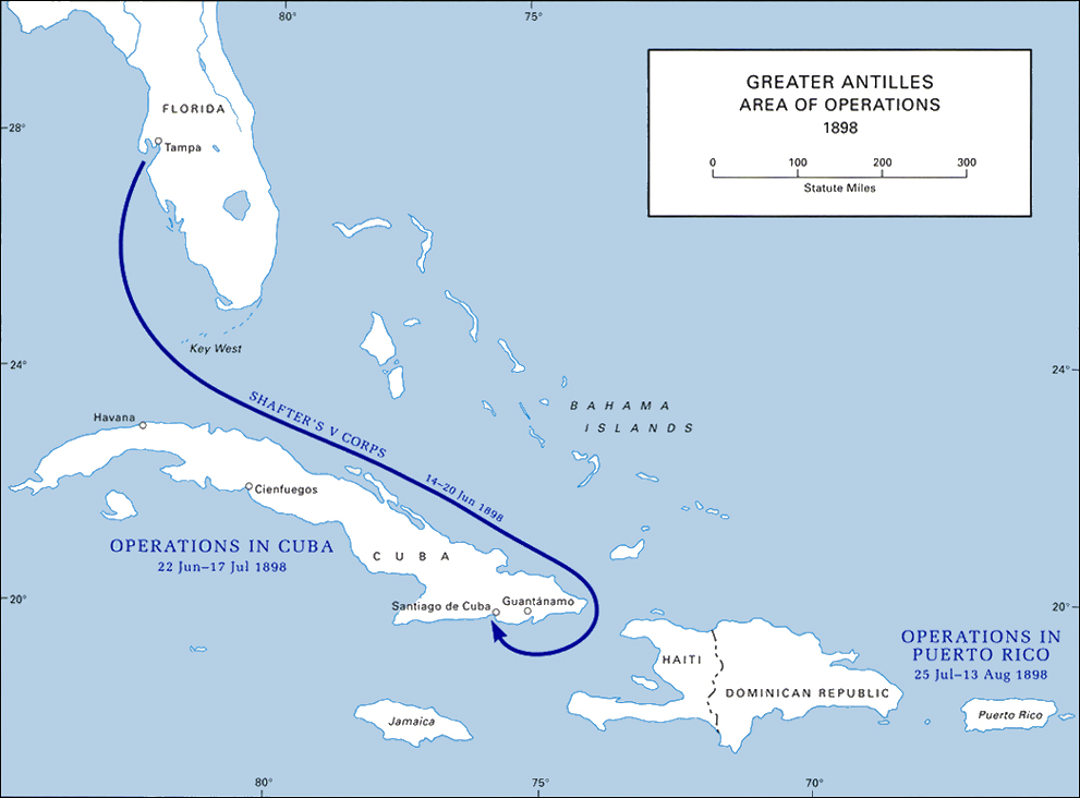 Chapter American Military History Volume I - Map of cuba and us