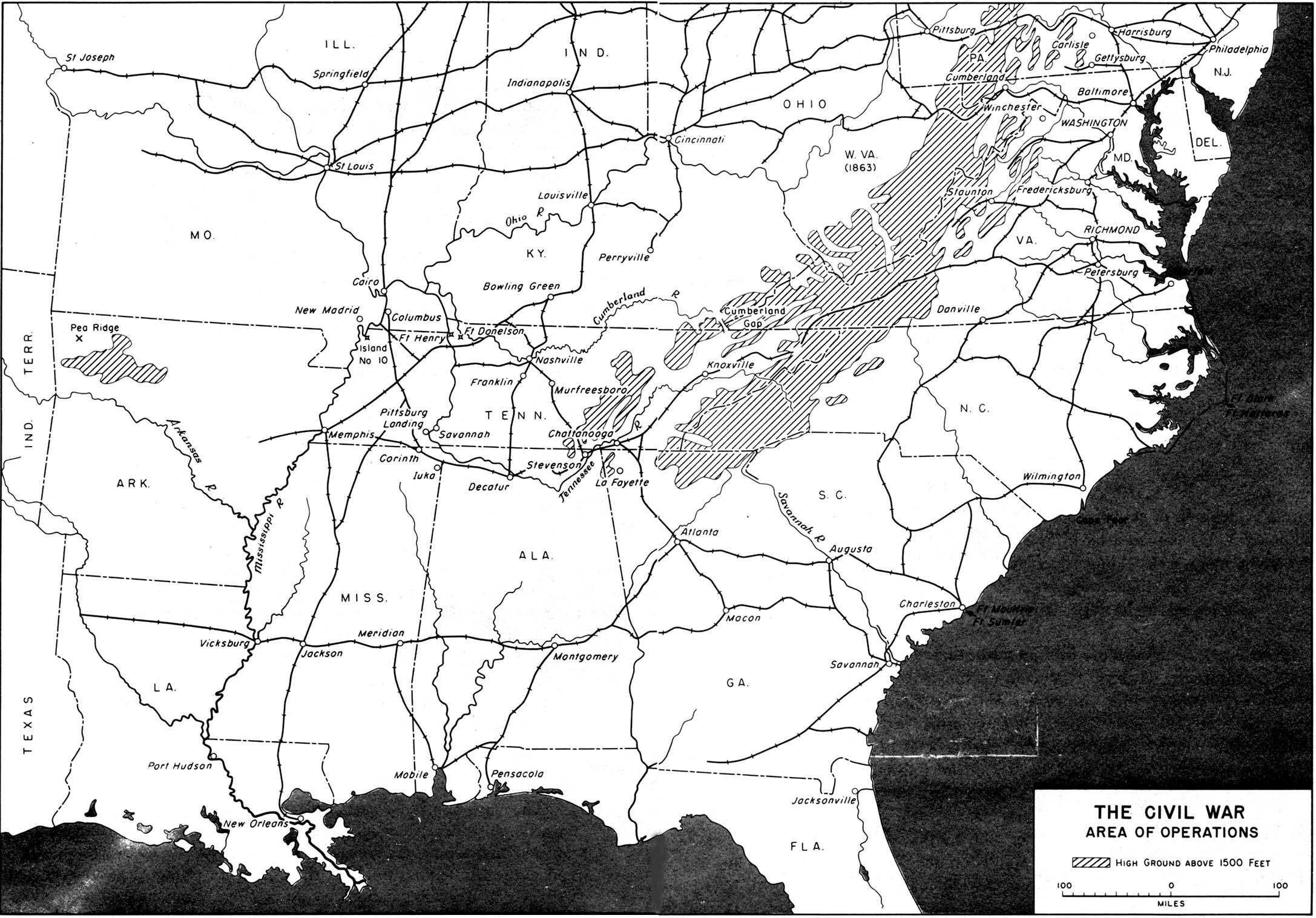 map 21 the civil war area of operations