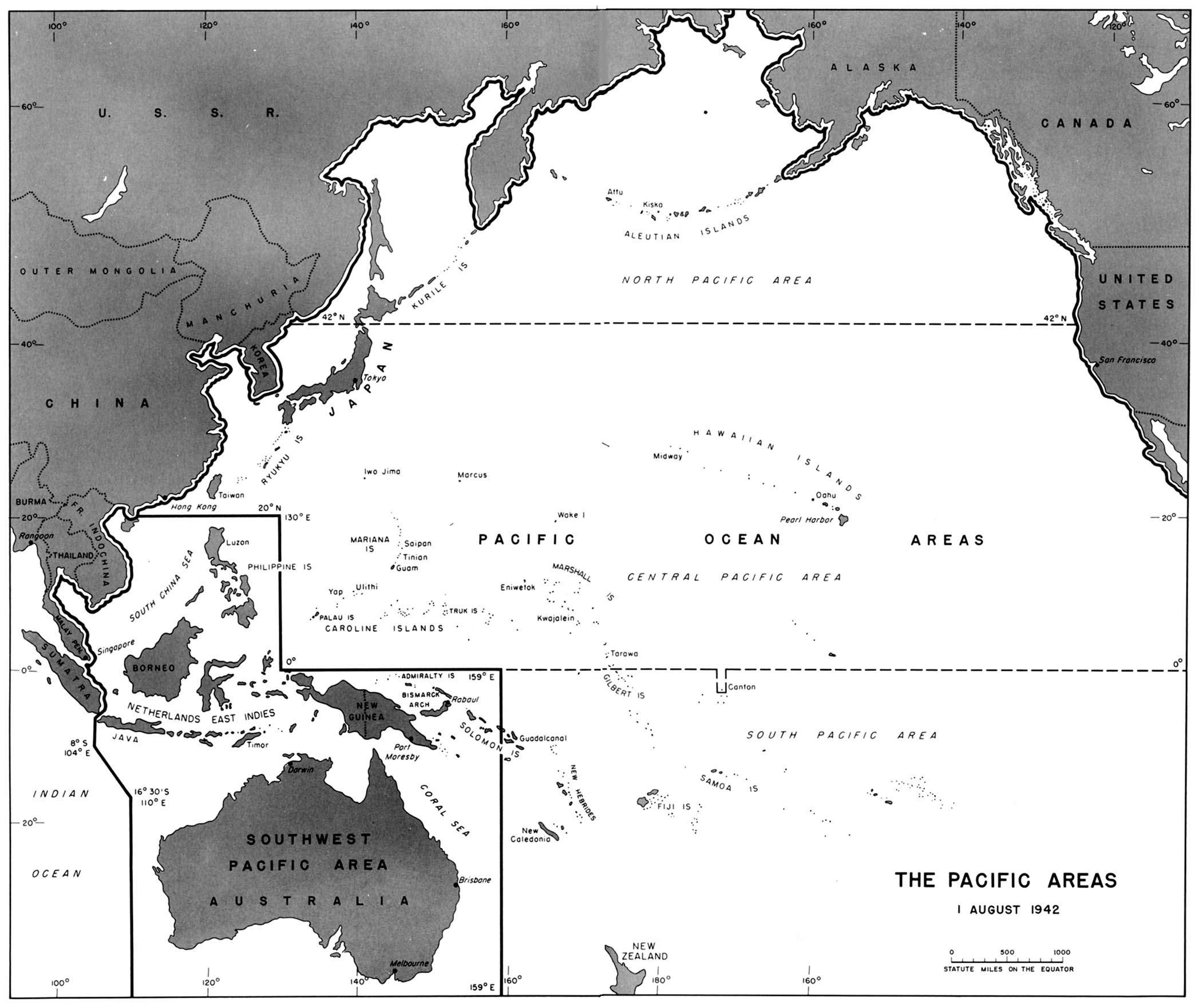 Chapter 23 world war ii the war against japan map 42 the pacific areas 1 august 1942 gumiabroncs Choice Image