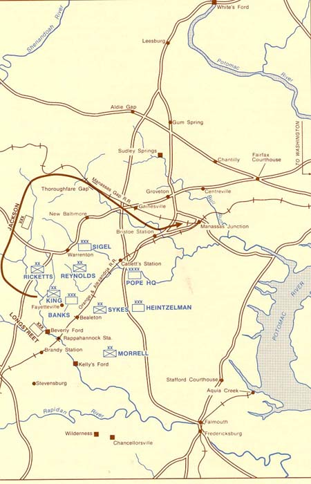 Map, Jackson's & Longstreet's Movements