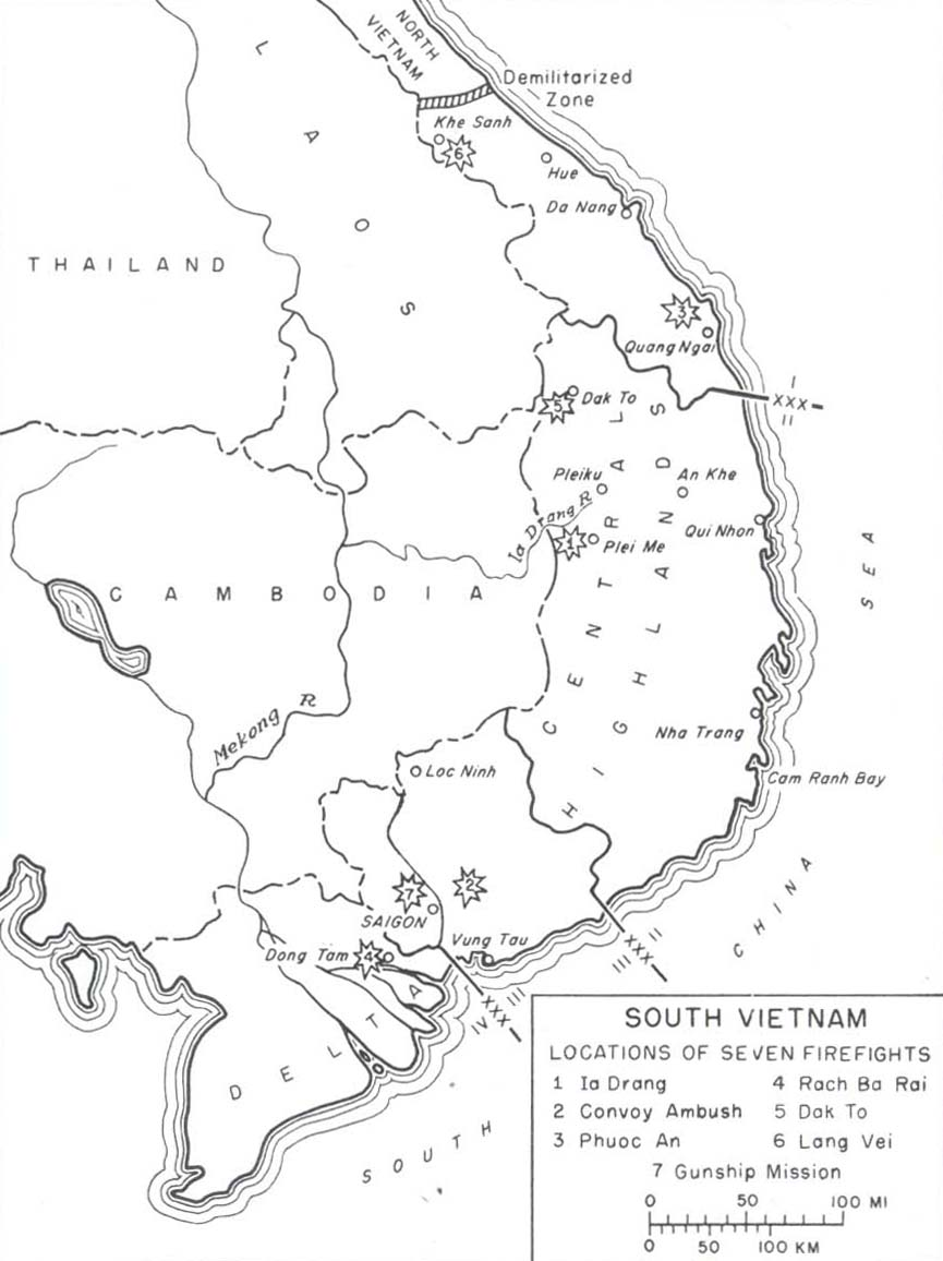 map 1 south vietnam locations of seven firefights