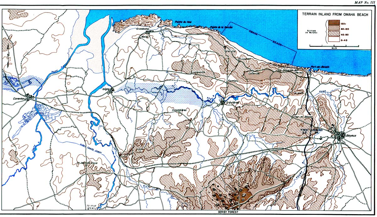 Omaha Beach Topographical Map