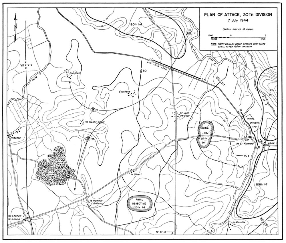 st lo xix corps attacks west of vire 7 11 july Forest Firefighter Resume map1 plan of attack 30th division 7 july 1944
