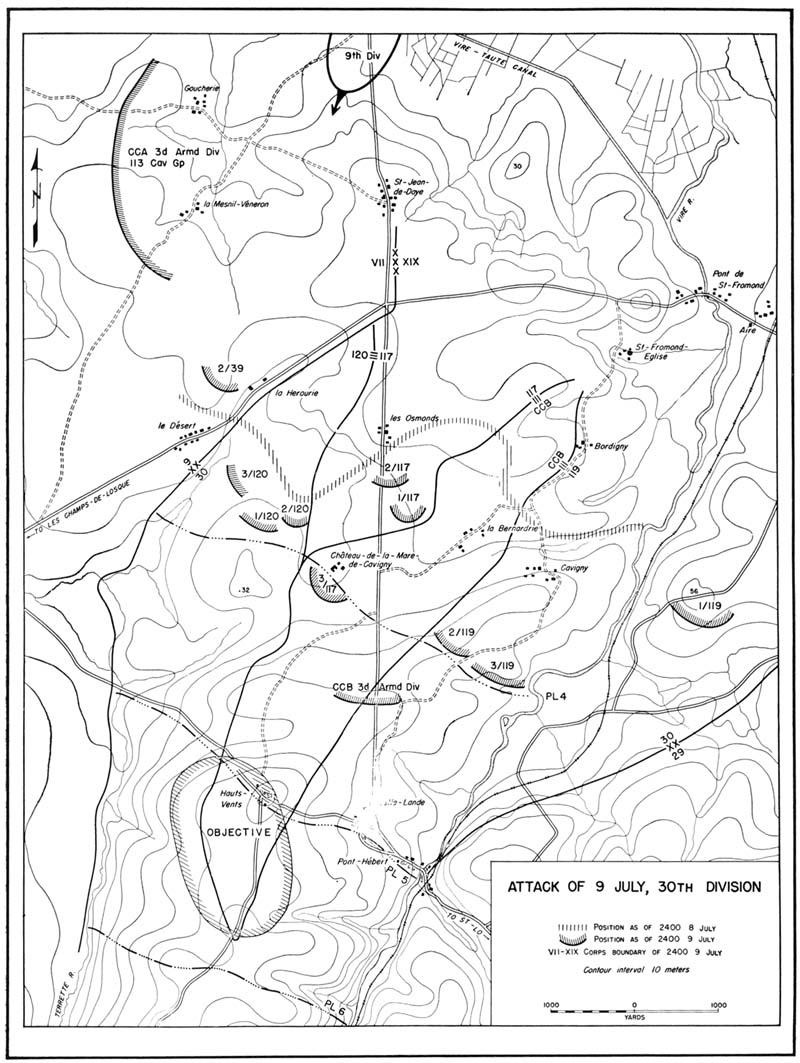 st lo xix corps attacks west of vire 7 11 july 4th Cavalry Regiment Call Sign map 5 attack of 9 july 30th division