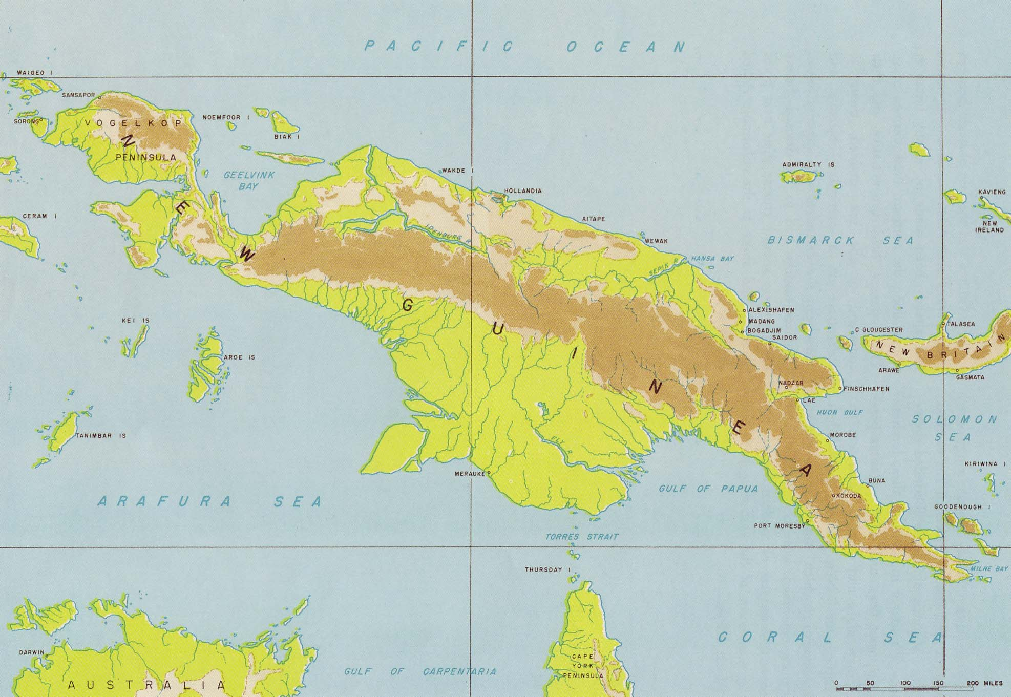 13 Relief Map Of New Guinea