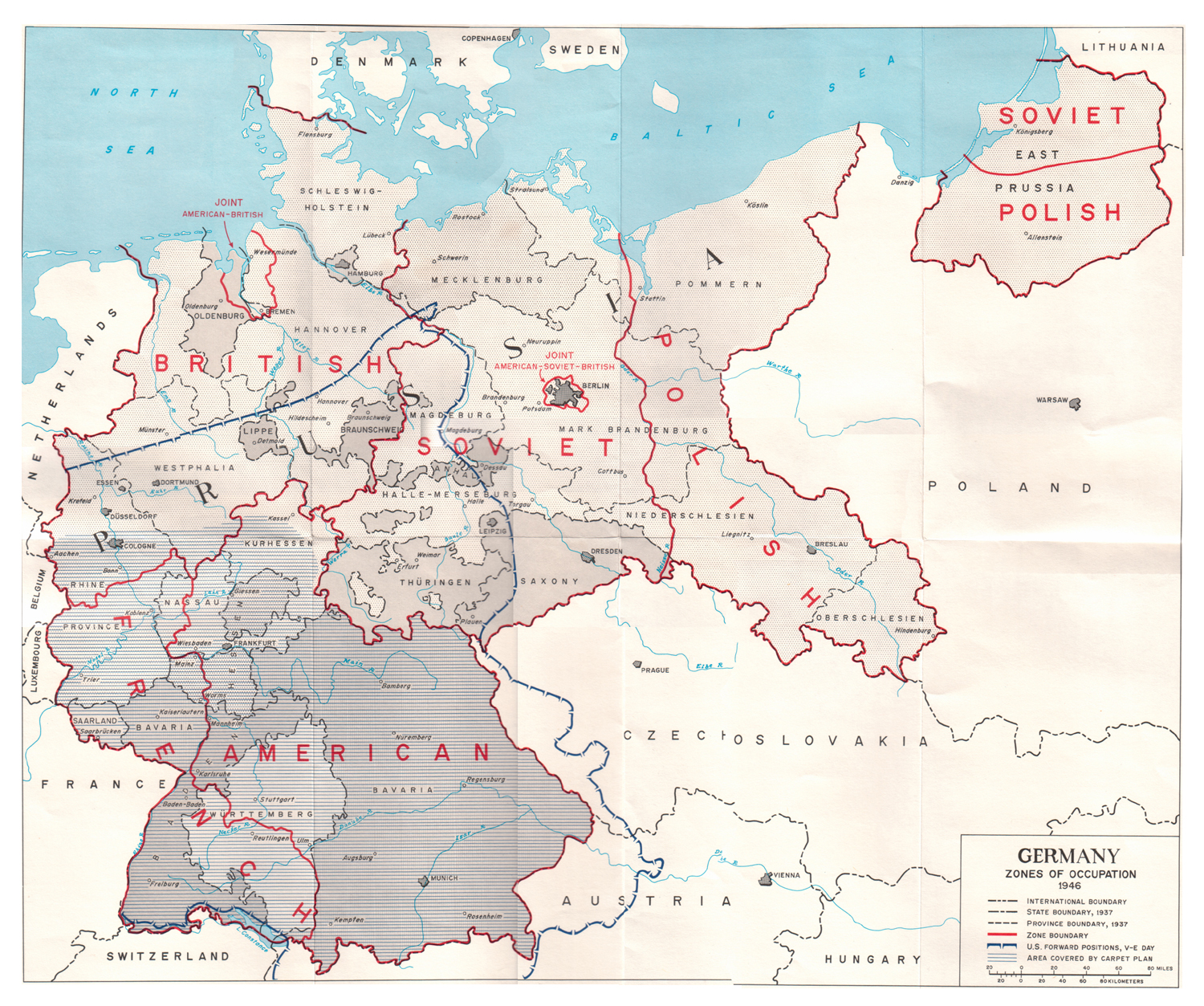 Zones Of Occupation - Germany map zones