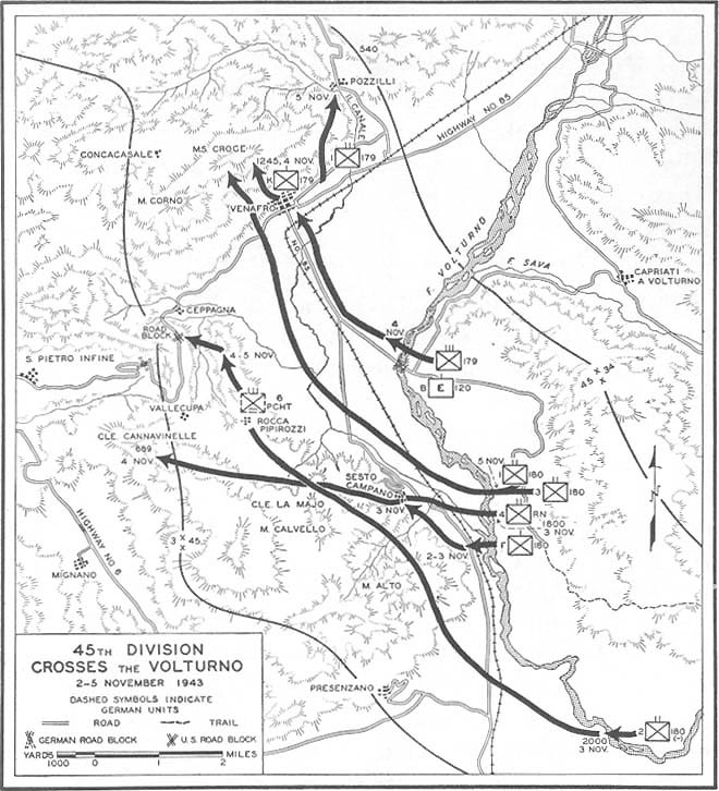 from the volturno to the winter line across the volturno and 109th Infantry Regiment Association 25 45th division crossed the volturno 2 5 november 1943