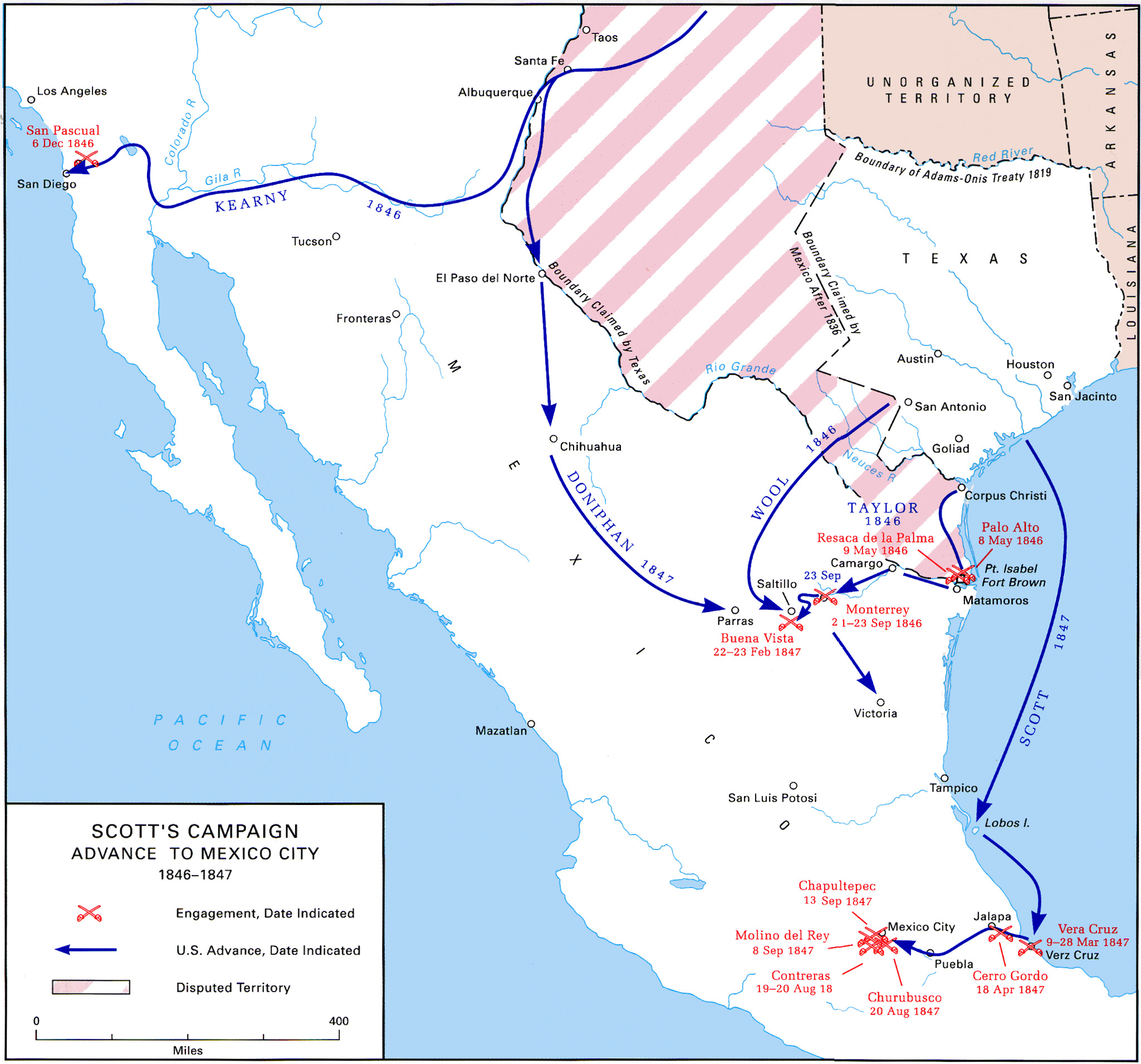 The Occupation Of Mexico May July - Map of us 1845