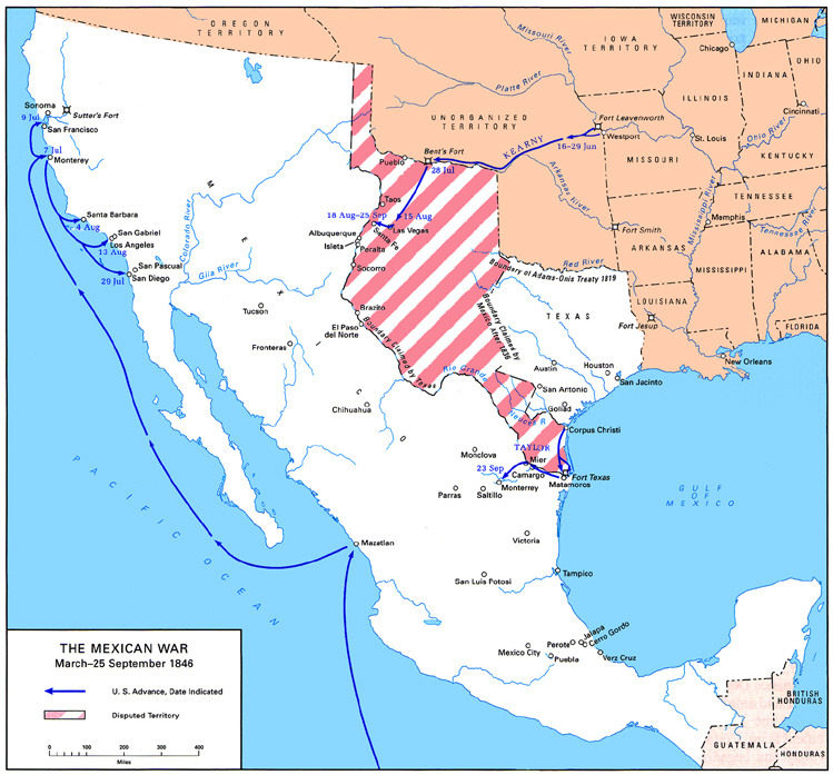 Gateway South The Campaign For Monterrey - Mexico map before us invasion