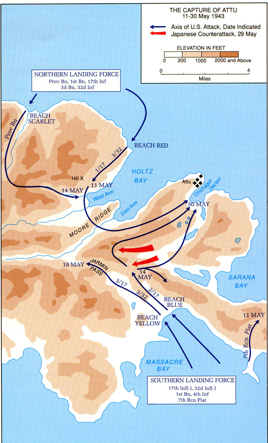 The Capture Of Attu 11 30 May 1943 Map
