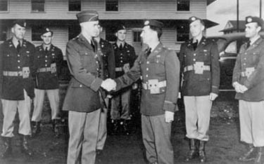 Brig. Gen. Omar Bradley congratulates newly qualified parachute officers of the 501st Parachute Infantry Battalion in 1941.