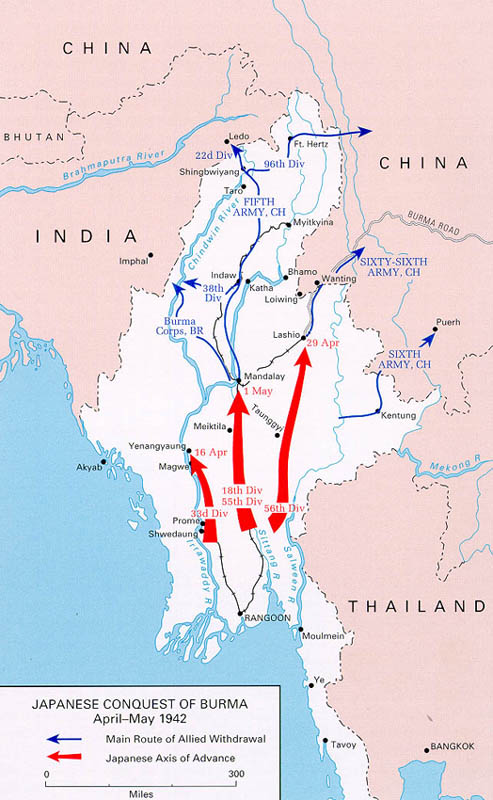Links to world war ii maps by history link 101 japanese conquest of burma 1942 gumiabroncs Images