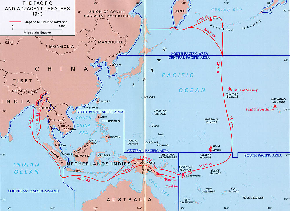 Eastern mandates the pacific and adjacent theaters 1943 map gumiabroncs Choice Image