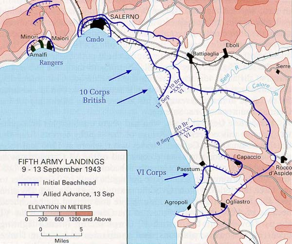 9th September 1943 World War 2 1954 map Salerno Landings Operation Avalanche
