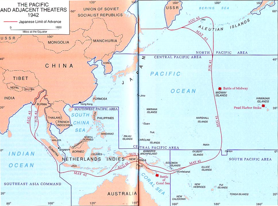 the pacific and adjacent theaters 1942 map