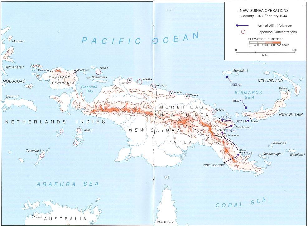 New Guinea Operations January 1943 February 1944 Map