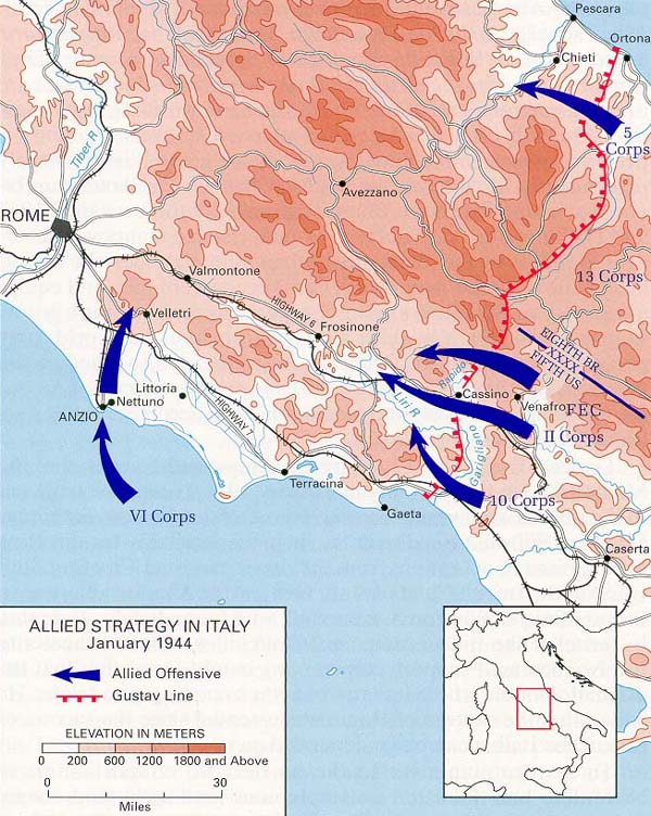 Wwii maps stats timelines map allied strategy in italy january 1944 gumiabroncs Image collections