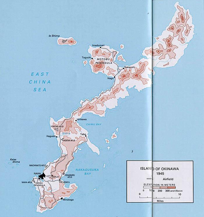 Charming  Map Of Okinawa Island 1945