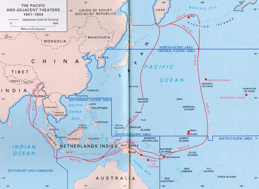 the pacific and adjacent theaters 1941 1944 map