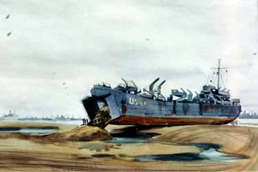 Painting, LST Unloading in Normandy by Harrison Standley