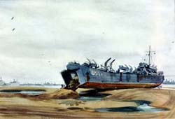 Painting, LST Unloading in Normandy by 