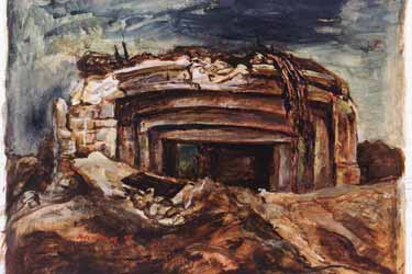 Painting, Wrecked German Pillbox, by Manuel Bromberg