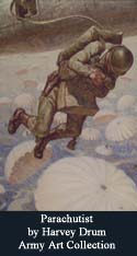 painting of Parachutist by Harvey Drum