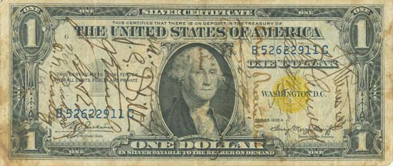 Short-Snorter Dollar Bill - Front Side