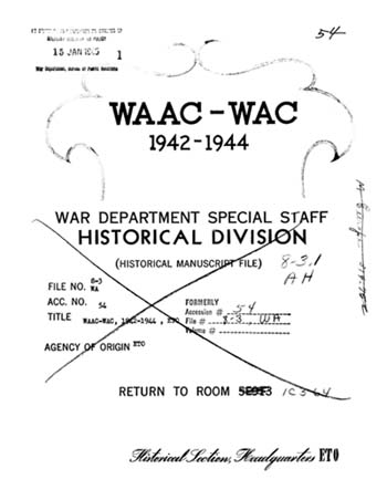 Cover page, WAAC-WAC, 1942-1944, ETO