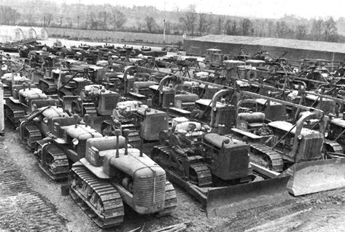 Photo:  Bulldozers at the engineer depot at Thatcham before the invasion