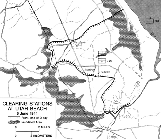 Map:  Map 7-Clearing Stations at UTAH Beach