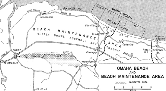 Map:  Omaha Beach and Beach Maintenance Area