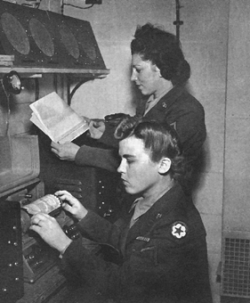 Photo:  Wacs operating a radio-telephoto transmitter