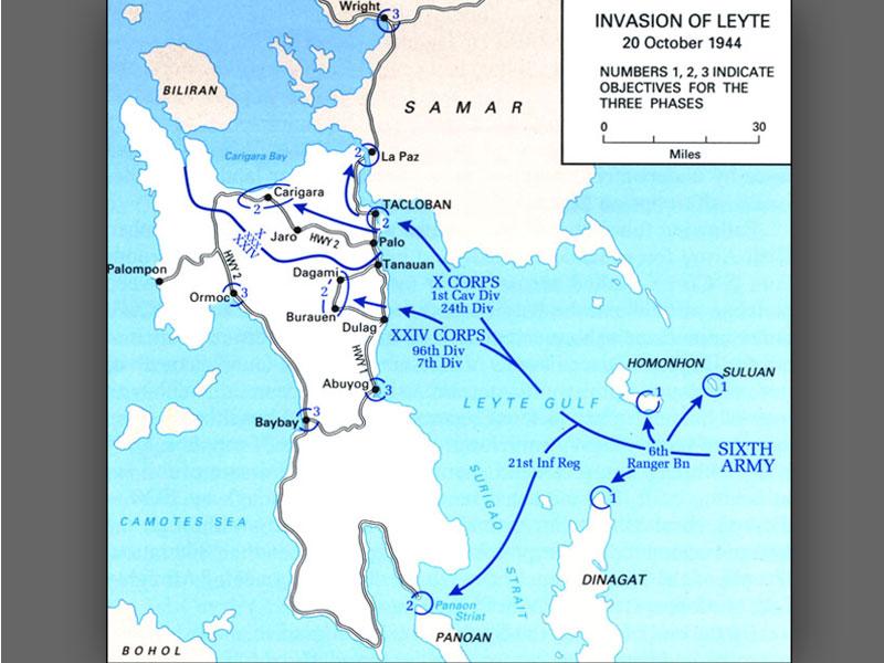 Source U S Map Leyte Invasion