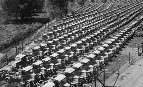The huge influx of American materiel greatly aided the beleaguered Allied war effort.