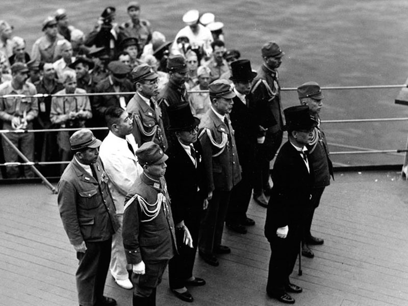 Japanese representatives at surrender ceremonies.