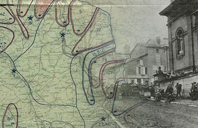 Daily Situation Map, November 11, 1918 and 353d Infantry near the church at Stenay, Meuse, France