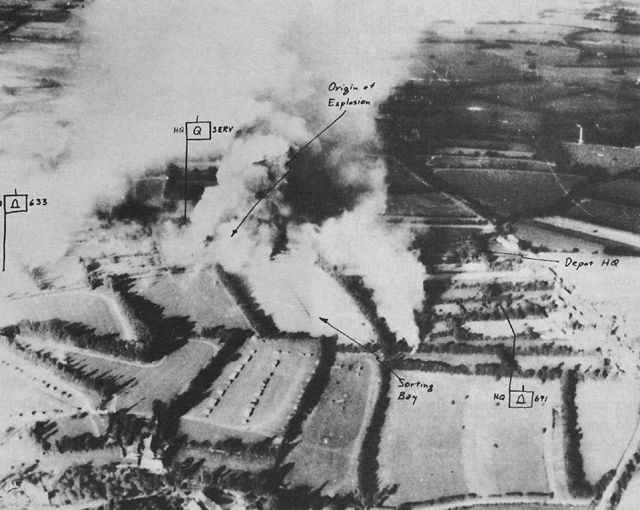 Photo:  The fire at Depot 101 in the hedgerows behind Utah Beach